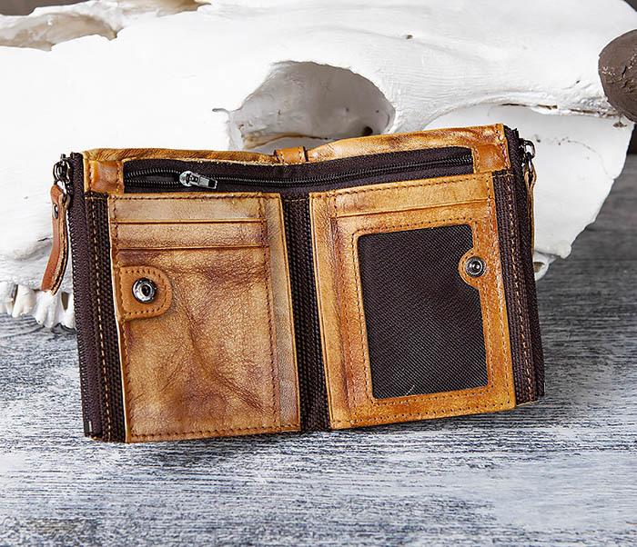 WL302-2 Мужской кошелек из кожи рыжего цвета фото 04