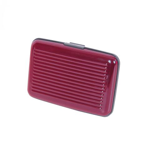 Кейс для кредитных карт (кредитница) металлический из алюминия и пластика Security Credit Card Wallet красный