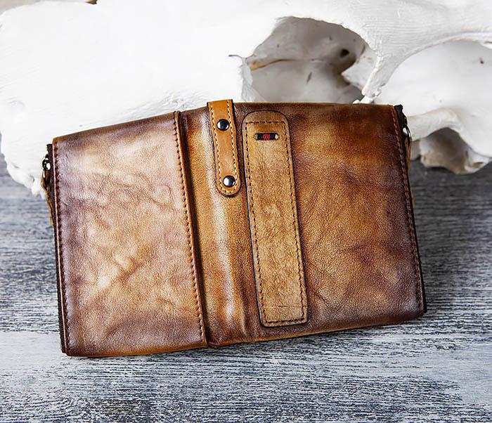 WL302-2 Мужской кошелек из кожи рыжего цвета фото 05