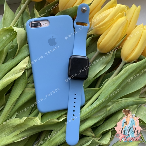 Чехол iPhone 7+/8+ Silicone Case /denim blue/ джинс original quality