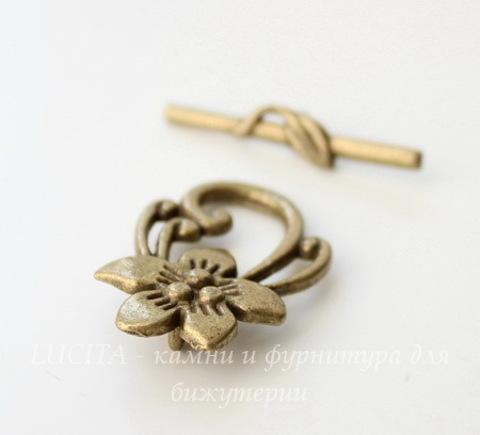 "Замок - тоггл из 2х частей ""Цветок лилии"" 30х20 мм, 30х5 мм (цвет - античная бронза)"