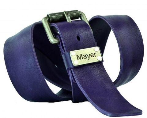 Отличный мужской высокачественный стильный джинсовый фиолетовый ремень 40 мм из натуральной итальянской кожи с надёжной пряжкой 40Mayer-107