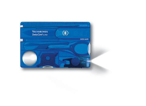Качественная маленькая брендовая фирменная швейцарская карточка полупрозрачного синиго цвета с 13 функциями VICTORINOX SwissCard Lite VC-0.7322.T2