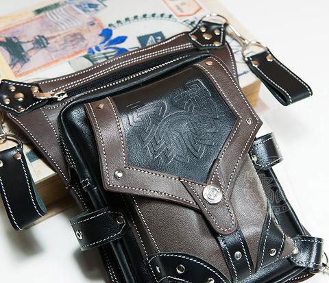 Крутая мужская набедренная сумка (мото сумка) ручной работы из кожи