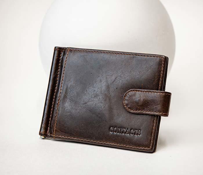 WL308-2 Кожаный зажим для купюр коричневого цвета фото 02