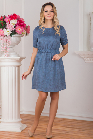 Платье льняное Синий меланж