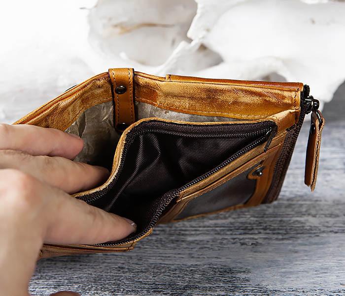 WL302-2 Мужской кошелек из кожи рыжего цвета фото 07