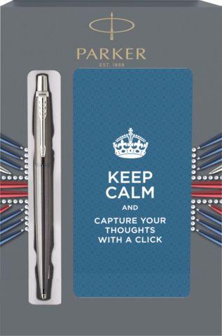 Подарочный набор с блокнотом и Шариковая ручка Parker Jotter Premium, Oxford Grey Pinstripe CT