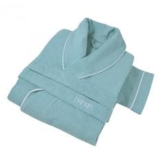 Элитный халат кашемировый Qashmare contrast бирюзовый от Hamam