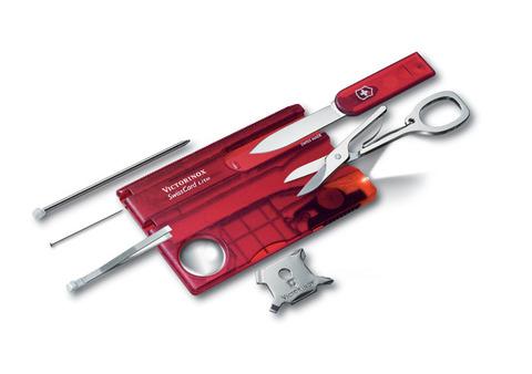 Качественная маленькая брендовая фирменная швейцарская карточка полупрозрачного красного цвета с 13 функциями VICTORINOX SwissCard Lite VC-0.7300.T