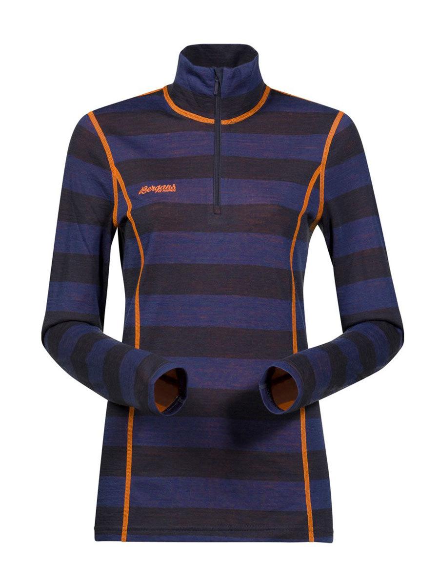 Bergans термобелье 1869 футболка Akeleie Lady Half Zip Night Blue Striped