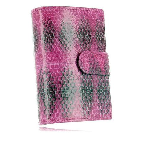 Стильная модная розовая визитница из экзотической кожи морской змеи с натуральным рисунком QUARRO AN-065