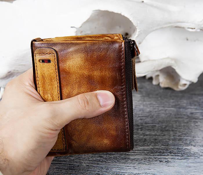 WL302-2 Мужской кошелек из кожи рыжего цвета фото 09