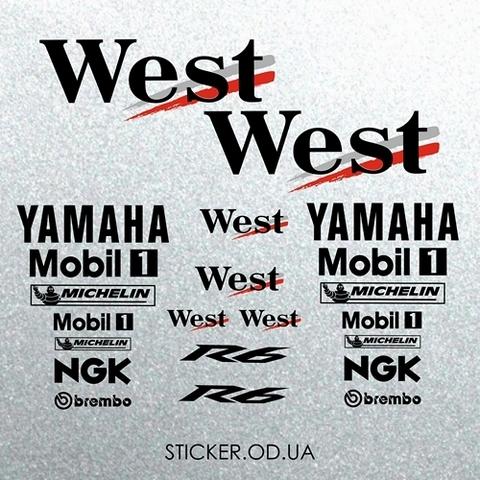 Набор виниловых наклеек на мотоцикл YAMAHA R6 WEST