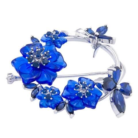 Брошь с цветами из синего кварца и сапфиром Арт.8001сс