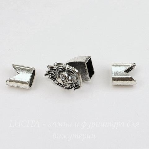"""Замок для шнура 5 мм из 3х частей """"Череп"""" 23х17х16 мм, 12х12 мм (цвет - античное серебро)"""