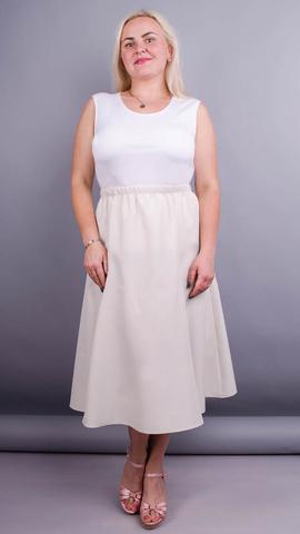 Тереза. Габардиновая юбка плюс сайз. Кремовый айвори.