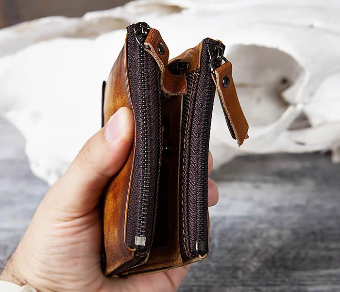 WL302-2 Мужской кошелек из кожи рыжего цвета фото 10