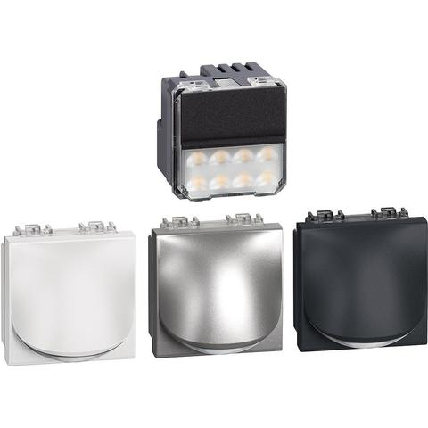 Точечный светильник для лестницы LED. 230В 2,2 Вт 70Лм, 2 модуля. Цвет Антрацит/Алюминий/Белый. Bticino LIVINGLIGHT. LN4361