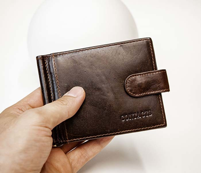 WL308-2 Кожаный зажим для купюр коричневого цвета фото 06
