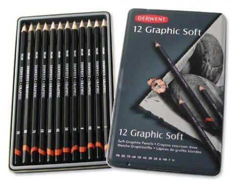 Набор чернографитных карандашей GRAPHIC SOFT 9B-H 12шт., металлическая уп-ка