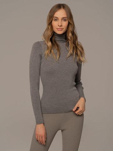 Женский свитер светло-серого цвета из 100% шерсти - фото 1