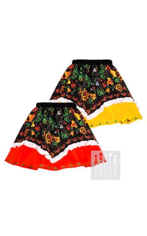 Фото Хохлома юбка с имитацией платка рисунок Хохломская роспись на одежде и костюмах!