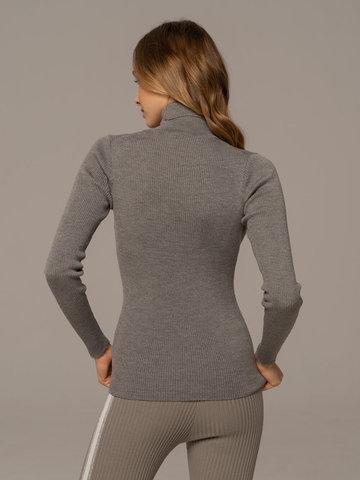 Женский свитер светло-серого цвета из 100% шерсти - фото 2