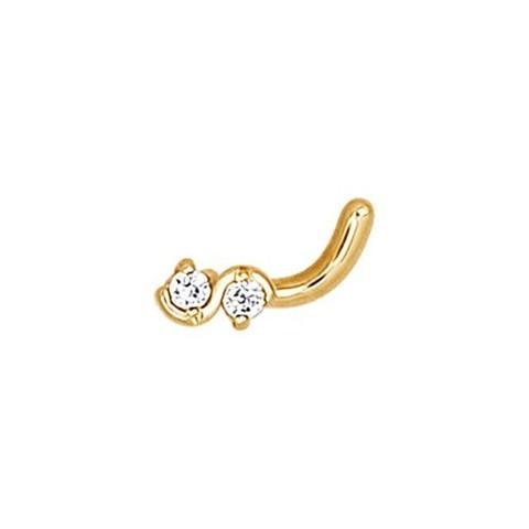 Пирсинг для носа из золота с 2-мя фианитами