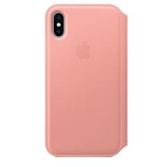 Кожаный чехол Apple Leather Folio для iPhone X, цвет (Soft Pink) бледно‑розовый