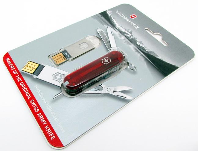 Нож-брелок Victorinox@work USB 16 Гб, 58 мм, 8 фнк, красный полупрозрачный