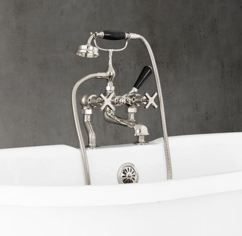 1930 Mackintosh Cross-Handle Deck-Mount Tub Fill & Handheld Shower