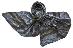 Палантин из вискозы цвет серый с хаки 1054
