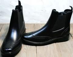 Резиновая женская обувь W9072Black.