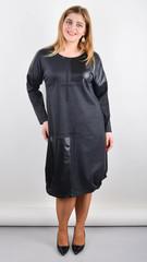 Джаз. Стильное платье большого размера. Графит.