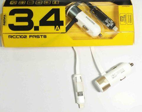 Зарядное устройство ReMax RCC102 Fast8 12/24V с кабелем iPhone/microUSB