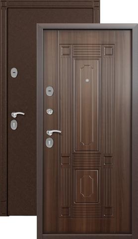 Дверь входная Стел 7, 2 замка, 1,5 мм  металл, (медь антик+лесной орех)