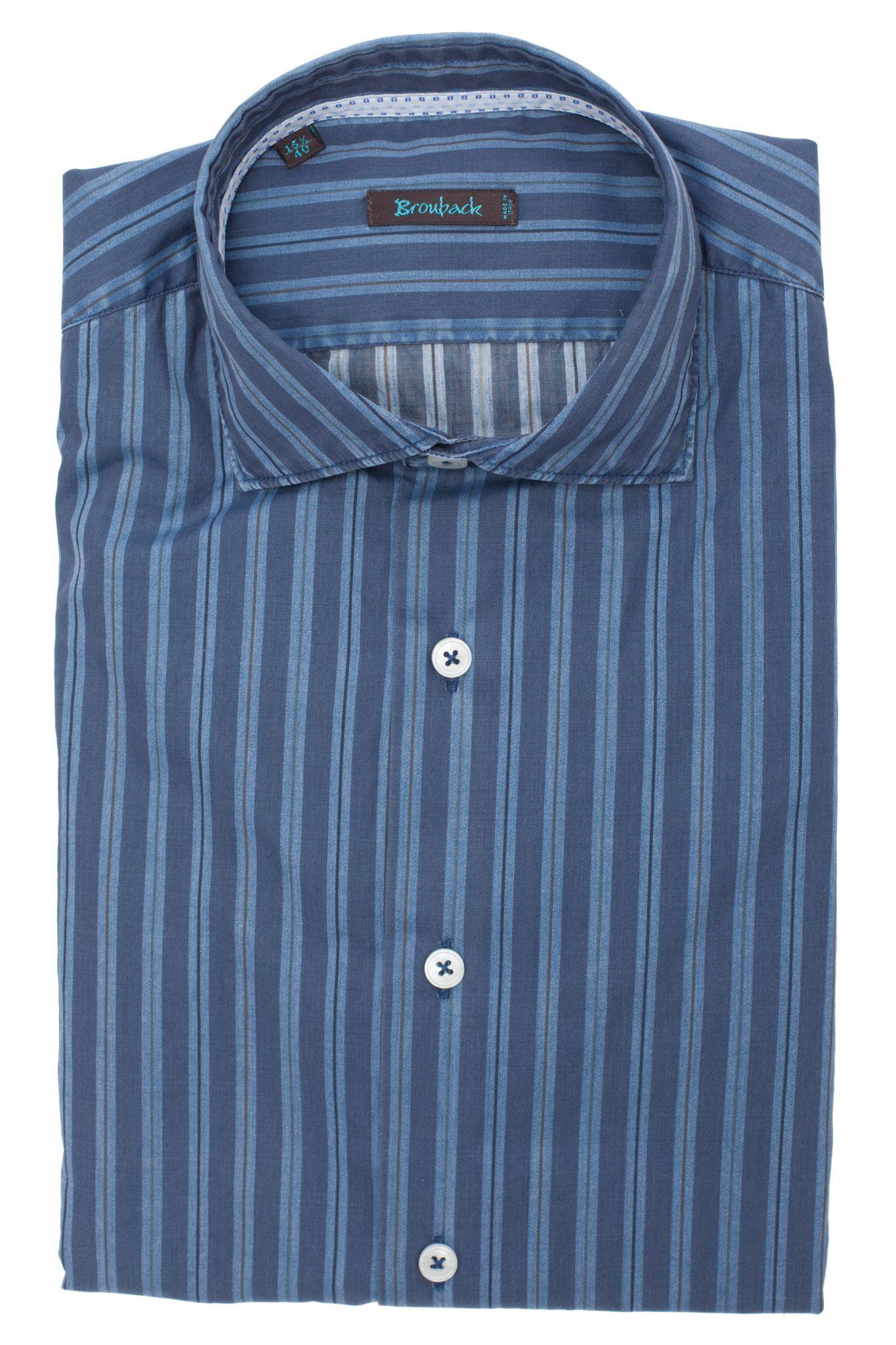 Синяя рубашка в голубую полоску