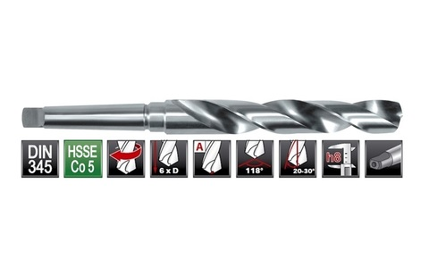 Сверло по металлу к/х Ruko DIN345 h8 HSSE-Co5 Mk3 27,0х291/170мм 204270E