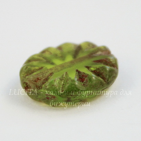 """Бусина """"Резной овал"""" (цвет - оливковый) 14х11 мм , 5 штук"""