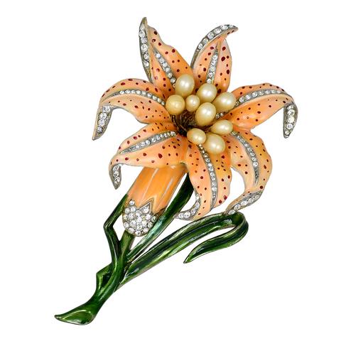 Очень редкая брошь  «Тигровая лилия» от Fenichel  | Extremely  rare  Fenichel  large Enamel Tiger Lily Pin Brooch