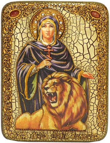 Инкрустированная Икона Святая мученица Дария Римская 20х15см на натуральном дереве, в подарочной коробке