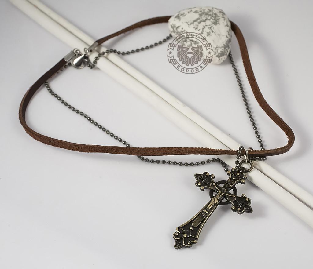 Мужская подвеска на кожаном шнурке и цепочке с металлическим крестом