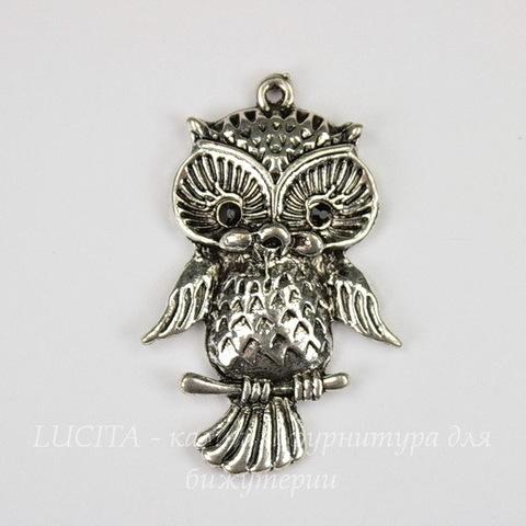 "Подвеска ""Сова"" (цвет - античное серебро) 43х27 мм"