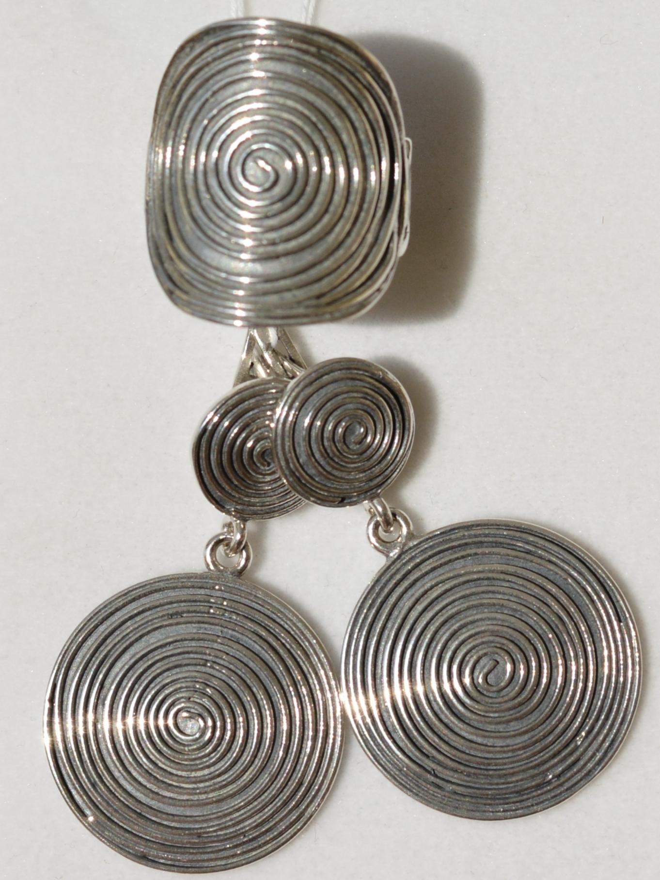 Спираль (кольцо + серьги из серебра)