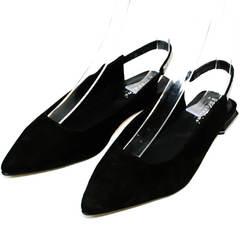 Замшевые туфли босоножки с закрытым носком Kluchini 5183 Black.
