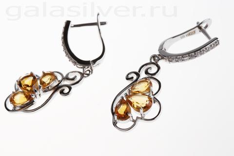Серьги с цитрином и цирконом из серебра 925