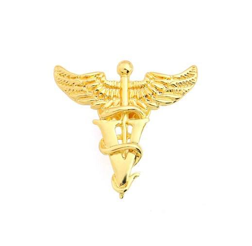 Брошь Кадуцей для ветеринаров (золотой цвет)