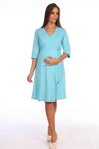 Мамаландия. Халат для беременных и кормящих на запах, меланж бирюза