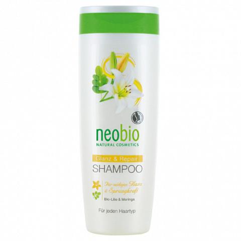 Шампунь для восстановления и блеска волос с био-лилией и морингой 250 мл (NeoBio)